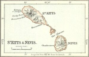 Old map of St. Kitts & Nevis